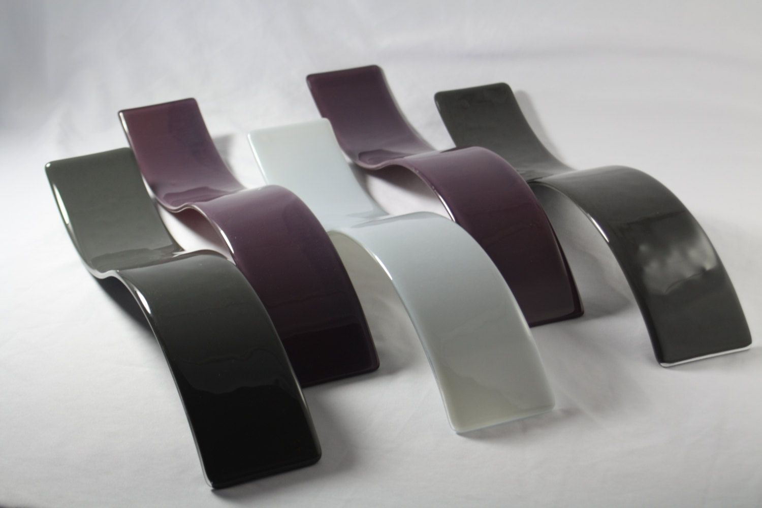 Purple And Gray Wall Art custom purple and gray wave fused glass wall artj.m. fusions