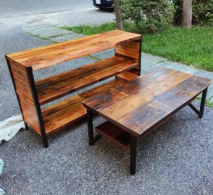 "Custom Made ""Dead Edge"" Reclaimed Wood And Steel Coffee Table And Media Console Set"