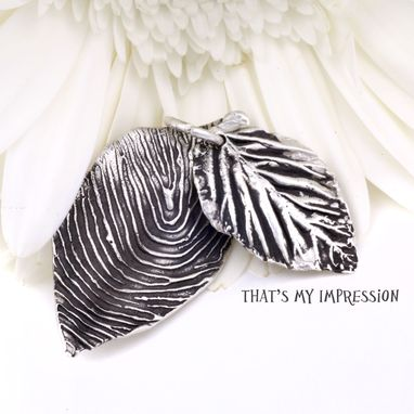 Custom Made Rose Leaf Handmade In Solid Sterling Silver With Your Actual Fingerprint