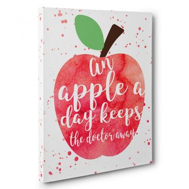 Custom Made An Apple A Day Keeps The Doctor Away Kitchen Canvas Wall Art