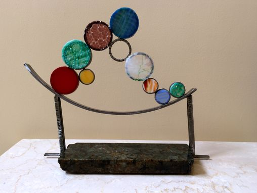 Custom Made Surf - An Abstract Sculpture In Steel, Glass And Marble