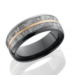 meteorite and zirconium and gold band by serge depoyan - Meteorite Wedding Ring