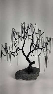Custom Made Small Weeping Willow Wire Bonsai Tree Sculpture