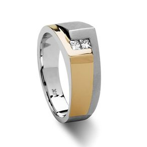 Fashionable 14k Mens Contemporary Diamond Wedding Ring