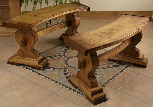 Custom Made Curved Pine Trestle Benches