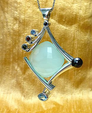 Custom Made 3 Inches Long Two Side Multi Gem Silver Pendant