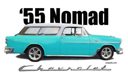 Custom Made 1955 Chevy Nomad T-Shirt Automotive Art
