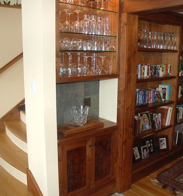 Handmade Custom Claro Walnut Built In Bar And Cabinet By