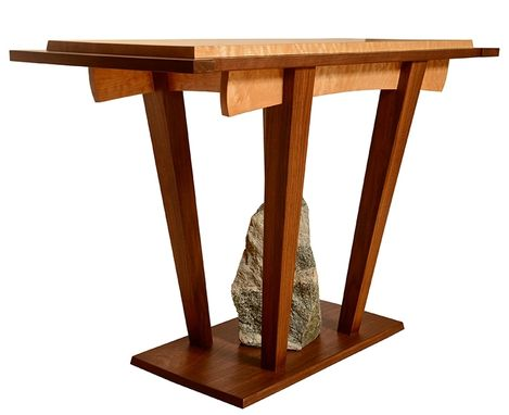 Custom Made Maple And Black Walnut Console Table