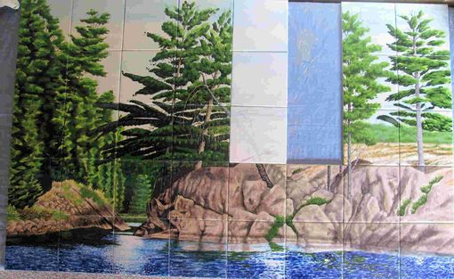 Custom Made Hand Painted Tile Mural: Canadian Wilderness Part 3