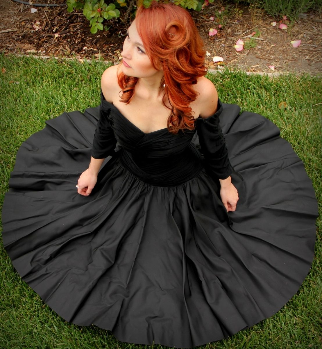 Hand Crafted Vintage 50s Cocktail Dress In Black Silk Chiffon And ...