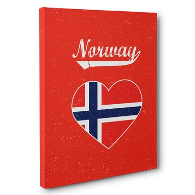 Custom Made Retro Norway Heart Canvas Wall Art