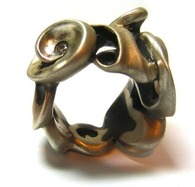 Custom Made Oxidized Swirl Ring With Diamond