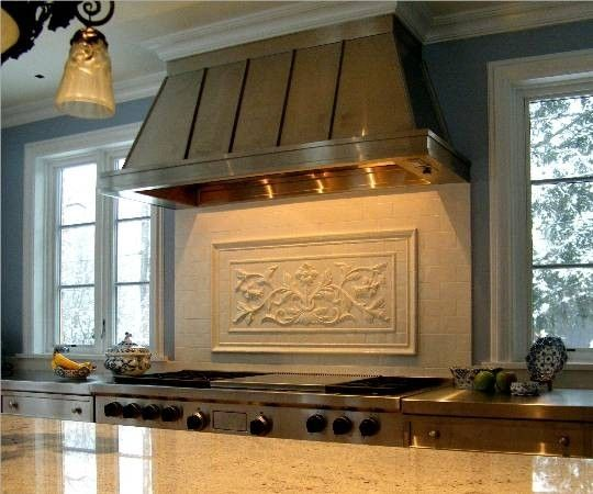 Custom Made High Relief Backsplash Using French Flowers
