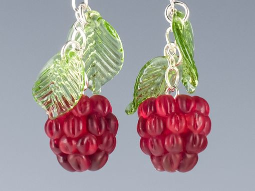 Custom Made Red Raspberry Earrings With Glass Leaf Accents