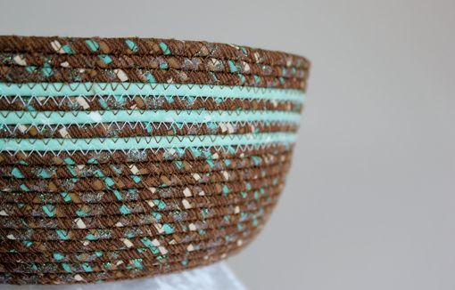 Custom Made Fabric Bowl With Lid - Coiled - Wrapped Clothesline - Medium Round - Brown/Mint Green