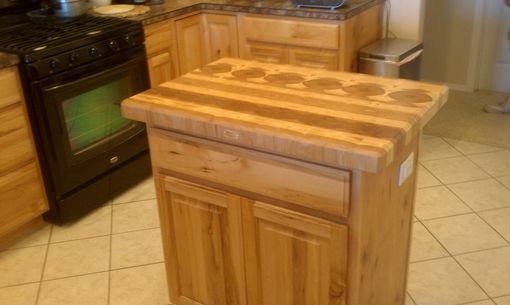 Custom Made Hickory Butcher Block Top & Wine Rack For An Existing Kitchen