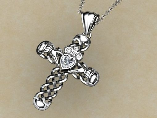 Custom Made Celtic Cross With Heart Diamond
