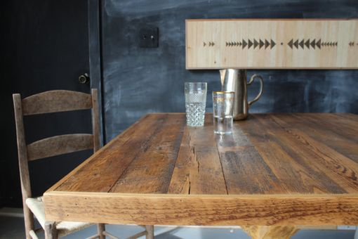 Custom Made Rustic Reclaimed & Sustainably Harvested Wood Kitchen Trestle Table
