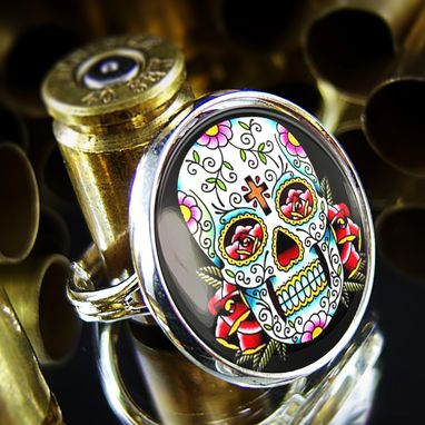 Custom Made Day Of The Dead Skull Glass Sterling Silver Ring