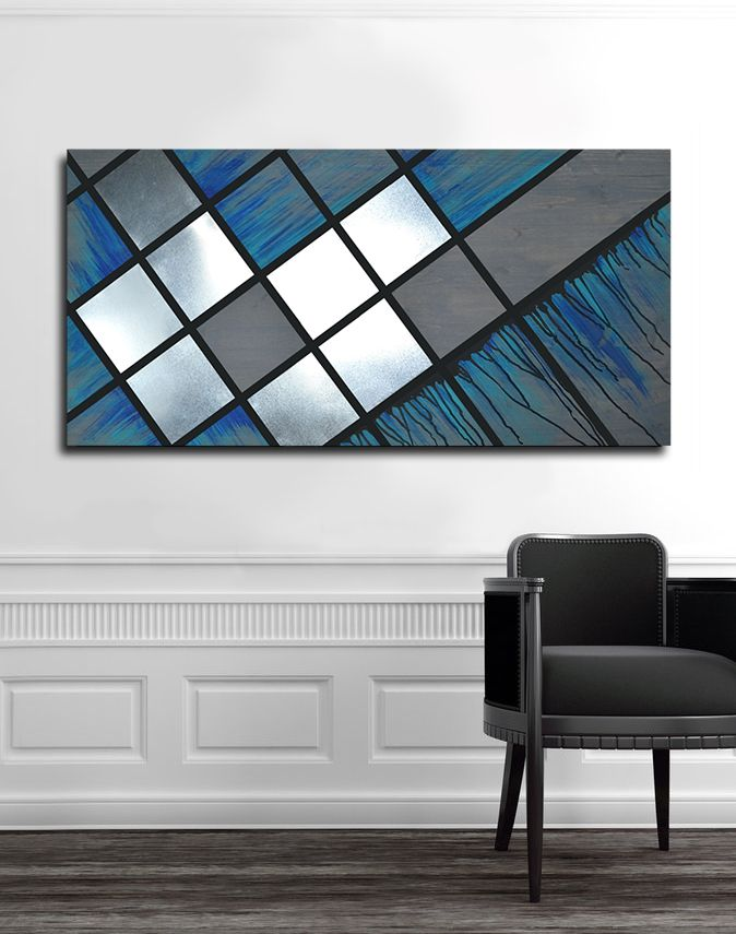 Blue Grid 48x24 Abstract Painting Wood Art Metal Art Modern Decor Modern Art Large Art