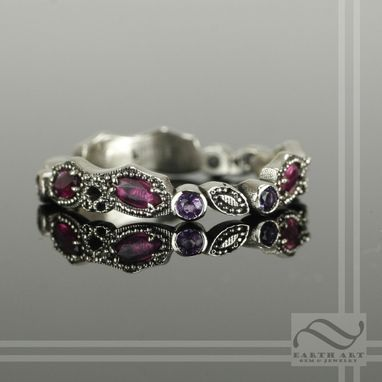 Custom Made Ruby And Amethyst Vintage Styled Leaf Ring - 14k White Gold