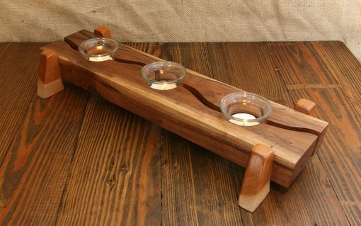 Custom Made Modern Decor Table Centerpiece Natural Walnut & Cherry Tealight Votive Candle Holder