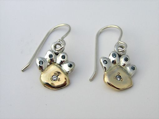 Custom Made Paw Print Earrings Two Toned Aquamarine & Diamond Inset Gemstones Unique Custom Handmade