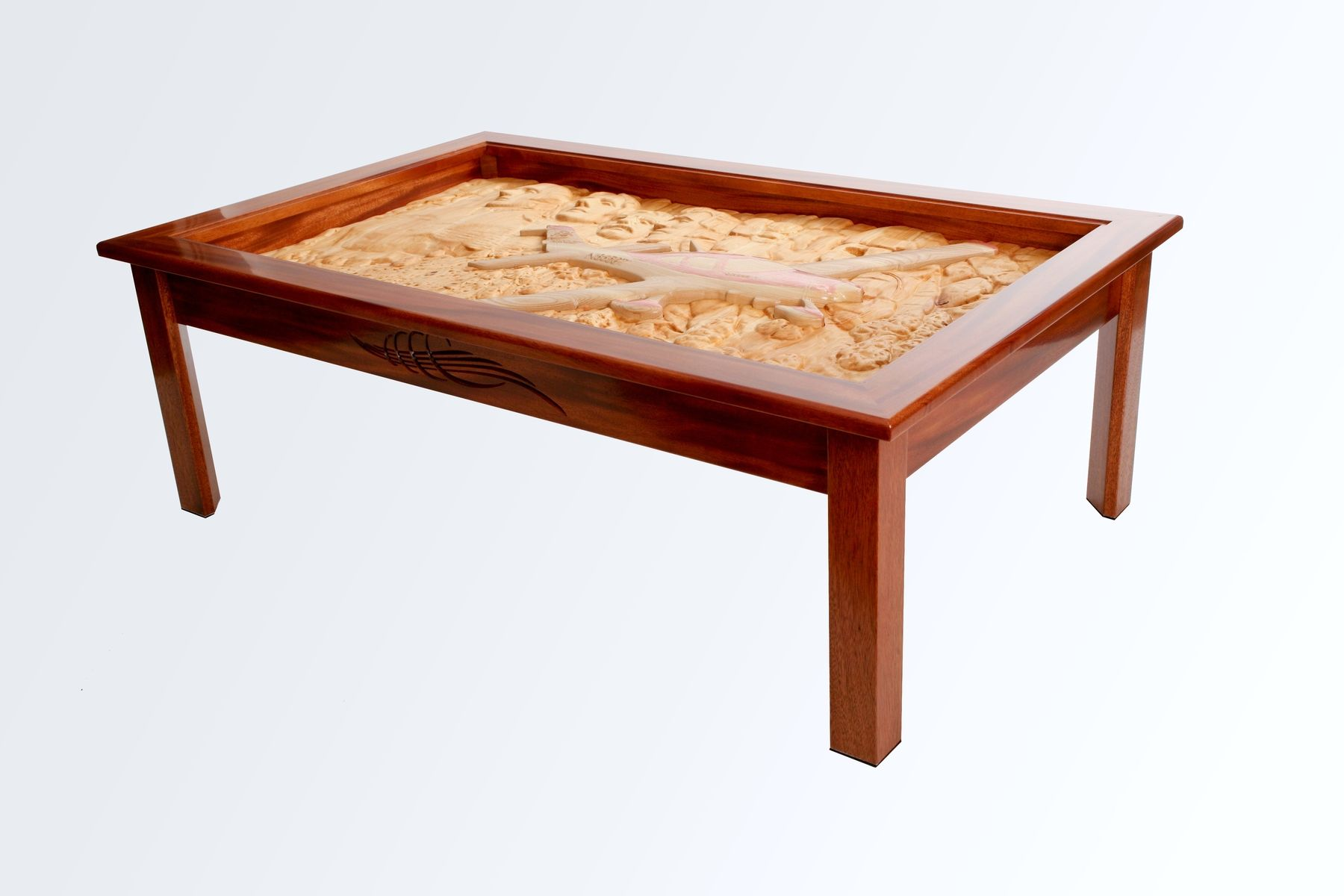 Hand Crafted Coffee Table With Carved Airplane Flying Over Mt