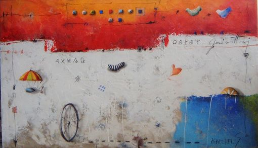 Custom Made Original Mixed Media Painting In Orange, White, And Blue