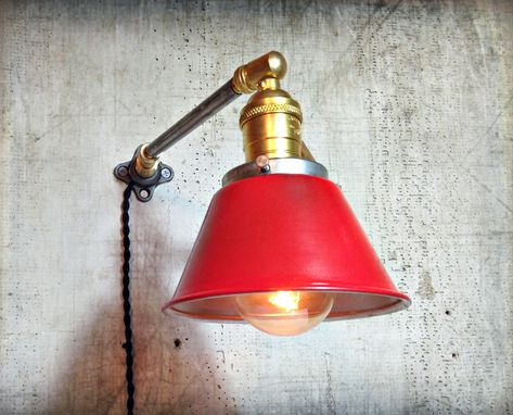 Custom Made Adjustable Articulating Wall Mount Loft Light - Rustic Metal Sconce - Steel And Brass