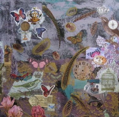 Custom Made Purple Mixed Media Original Collage Painting On Canvas