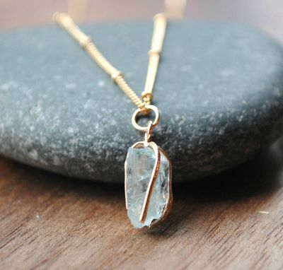Custom Made Raw Aquamarine Gemstone Necklace