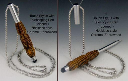 Custom Made Touch Stylus Necklace With Telescoping Mini Pen, Exotic Wood Body, Five Available Colors