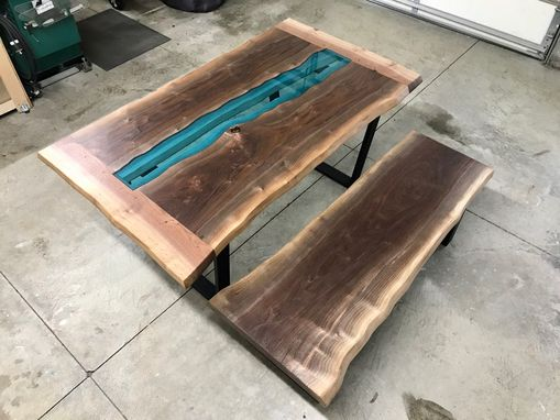 Custom Made Live Edge Walnut River Glass Dining Table With Live Edge Bench