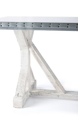Custom Made Zinc Table  Zinc Dining Table - French Trestle Zinc Top Table - White Washed