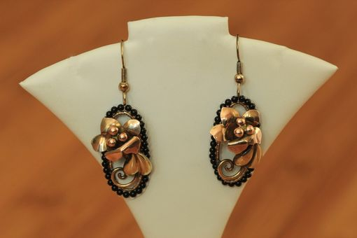 Custom Made Hand Woven Black Onyx Earrings With Flowers