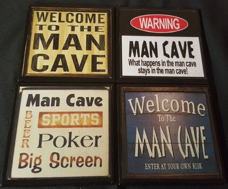 Custom Made Man Cave Ceramic Tile Drink Coaster Set
