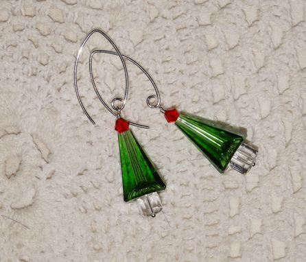 Custom Made Christmas Tree Earrings - Green Swarovski Crystals In Sterling Silver