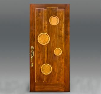 Custom Made Encircles-Walnut Door With Circles Inset