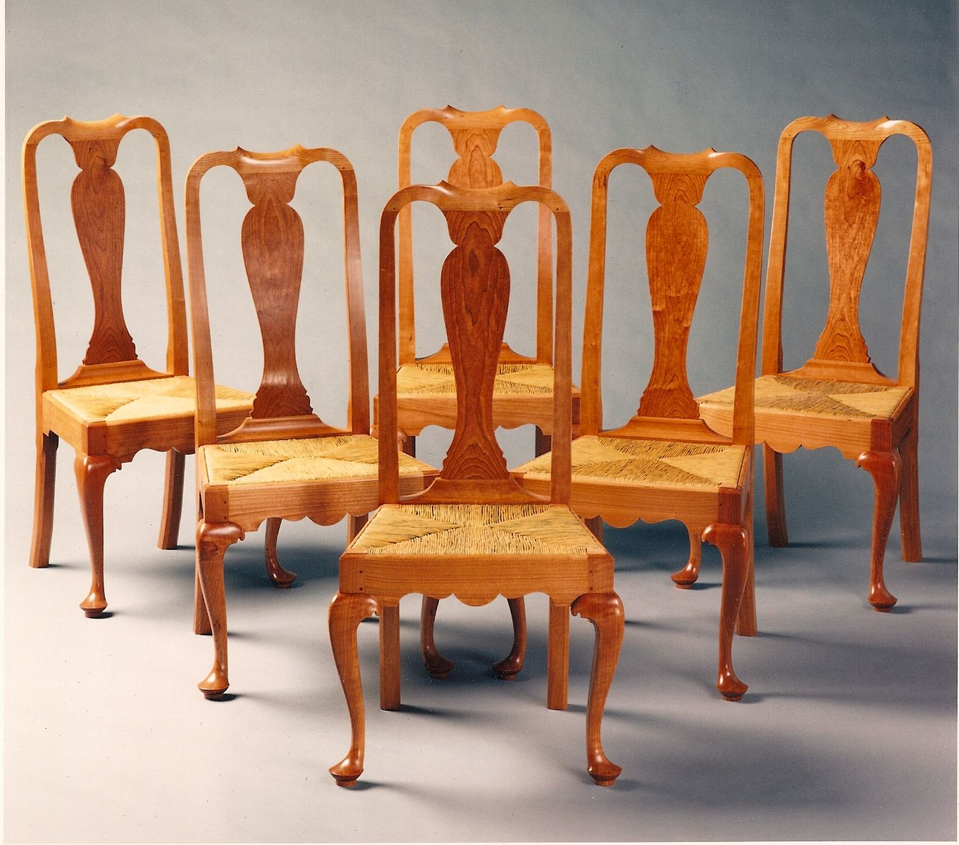 Hand crafted queen anne dining room chairs by paula for Queen anne furniture