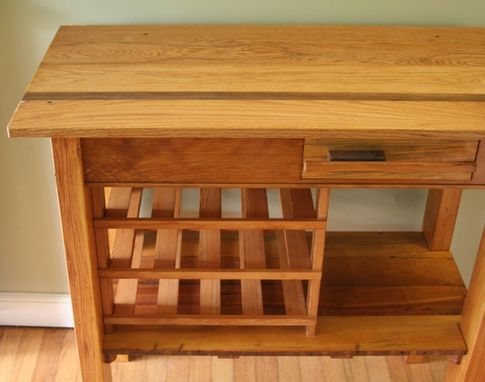 Custom Made Oak And Heart Pine Wood Wine Table Made From Repurposed And Reclaimed 1894 Wood