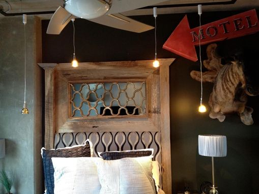 Custom Made Reclaimed Headboard With Metal And Mirror