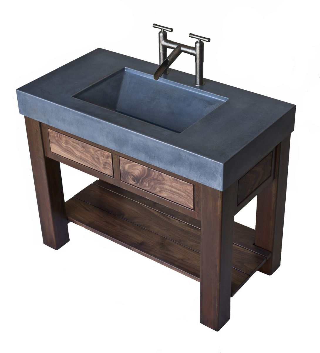 cement bathroom sinks crafted steel and walnut vanity with integral 12257
