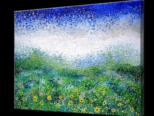 Custom Made Signed Pre-Stretched Giclee Print On Canvas Of Original Yellow Sunflower Landscape Painting - 20x30