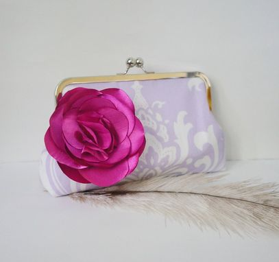 Custom Made Premier Cotton Clutch Purse With Rose Flower Accent