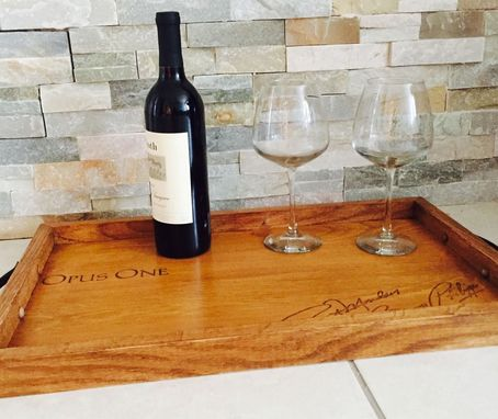 Custom Made Wine Panels Opus One Lid And White Oak Serving Tray Handmade