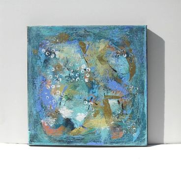 "Custom Made Sale - Turquoise Flurry, Canvas Art, 12""/12"", 30/30 Cm"