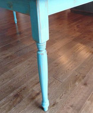 Custom Made Reclaimed Wood Farmhouse Table With Beautiful Turquoise Turned Legs