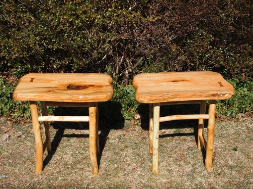 Custom Made Two Matching Red Oak Side Tables